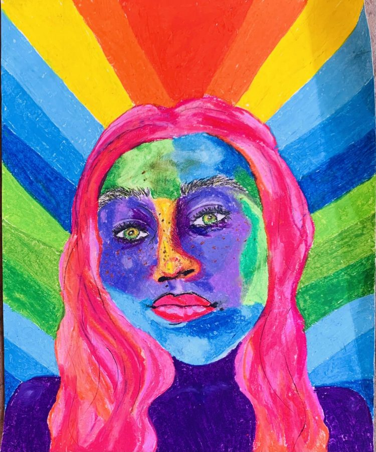 This is my self portrait I decided to add every color to make it more fun and creative